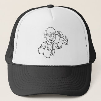 Mechanic or Plumber Handyman With Wrench Cartoon Trucker Hat