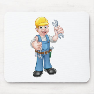Mechanic or Plumber with Spanner Mouse Pad