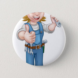 Mechanic or Plumber Woman Holding Spanner 6 Cm Round Badge