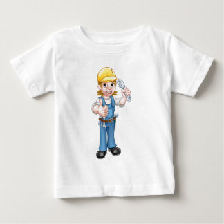 Mechanic or Plumber Woman Holding Spanner Baby T-Shirt