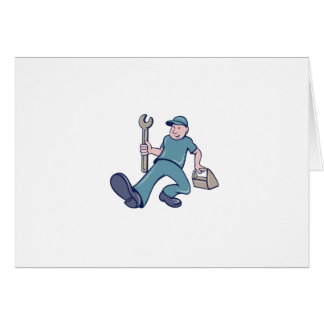 Mechanic Spanner Foot Forward Cartoon Card