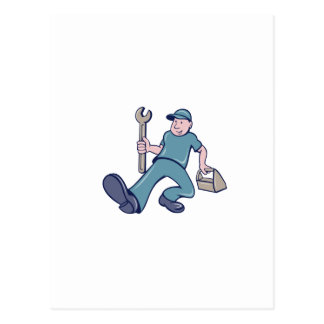 Mechanic Spanner Foot Forward Cartoon Postcard