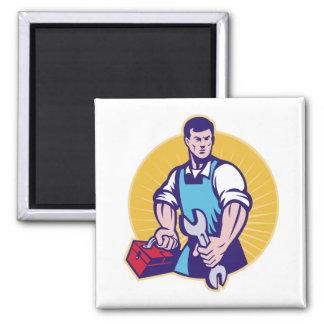 Mechanic tradesman worker holding spanner toolbox refrigerator magnet