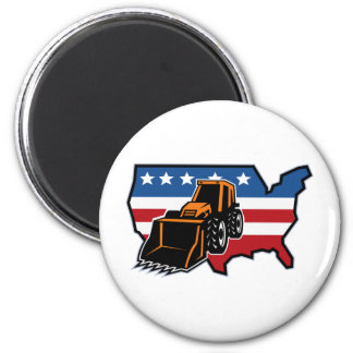 mechanical digger bulldozer with american flag map refrigerator magnet
