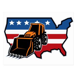 mechanical digger bulldozer with american flag map postcard