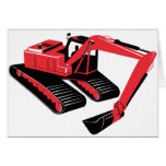 mechanical digger construction excavator greeting cards