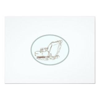Mechanical Digger Excavator Oval Etching 17 Cm X 22 Cm Invitation Card