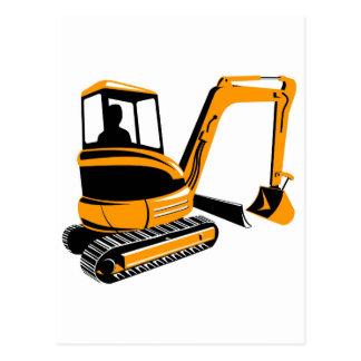 mechanical digger excavator postcard