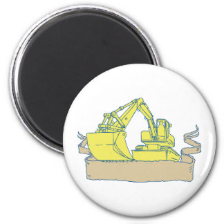 Mechanical Digger Excavator Ribbon Scroll Drawing 6 Cm Round Magnet