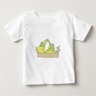 Mechanical Digger Excavator Ribbon Scroll Drawing Baby T-Shirt