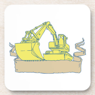 Mechanical Digger Excavator Ribbon Scroll Drawing Coaster