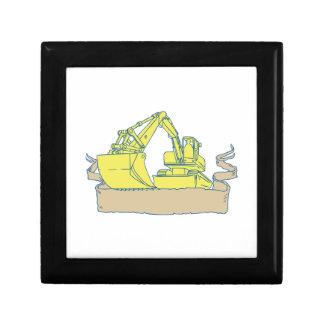 Mechanical Digger Excavator Ribbon Scroll Drawing Gift Box