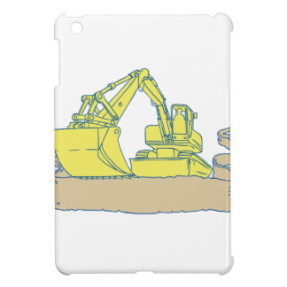 Mechanical Digger Excavator Ribbon Scroll Drawing iPad Mini Cover