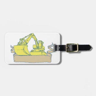 Mechanical Digger Excavator Ribbon Scroll Drawing Luggage Tag