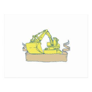 Mechanical Digger Excavator Ribbon Scroll Drawing Postcard