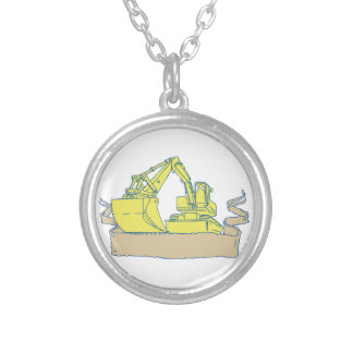 Mechanical Digger Excavator Ribbon Scroll Drawing Silver Plated Necklace
