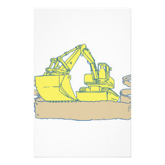 Mechanical Digger Excavator Ribbon Scroll Drawing Stationery