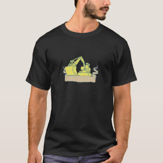 Mechanical Digger Excavator Ribbon Scroll Drawing T-Shirt