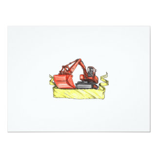 Mechanical Digger Excavator Ribbon Tattoo Card