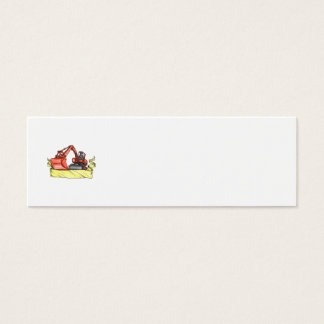 Mechanical Digger Excavator Ribbon Tattoo Mini Business Card