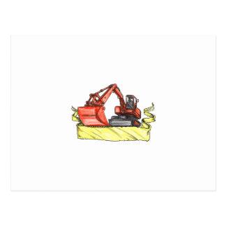 Mechanical Digger Excavator Ribbon Tattoo Postcard