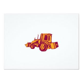Mechanical Digger Excavator Woodcut 17 Cm X 22 Cm Invitation Card