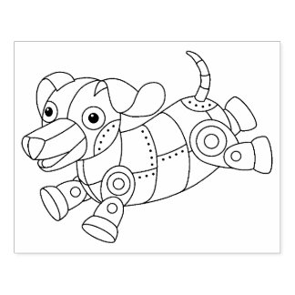 Mechanical Puppy - Steampunk Dog Toy Coloring Page Rubber Stamp