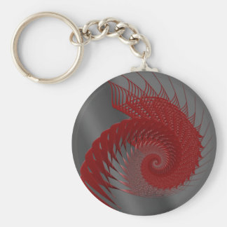 Mechanical Shell. Red and Gray Digital Art. Basic Round Button Key Ring