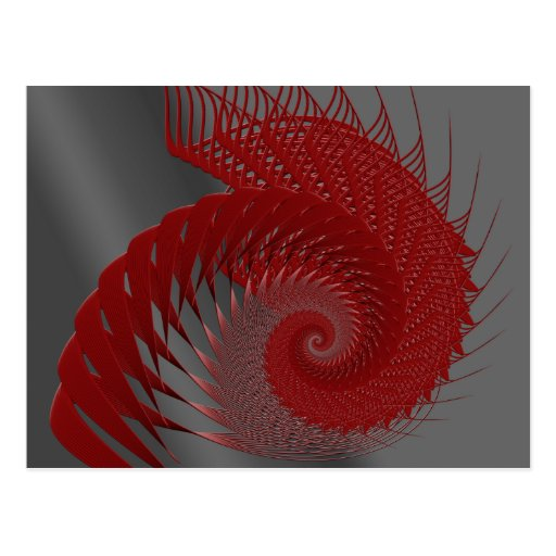 Mechanical Shell. Red and Gray Digital Art. Post Cards