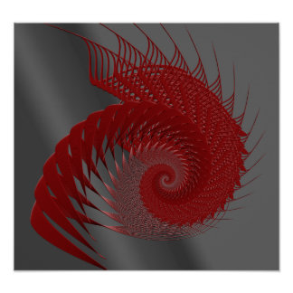 Mechanical Shell. Red and Gray Digital Art. Poster