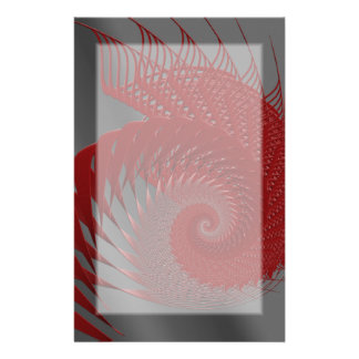 Mechanical Shell. Red and Gray Digital Art. Customized Stationery