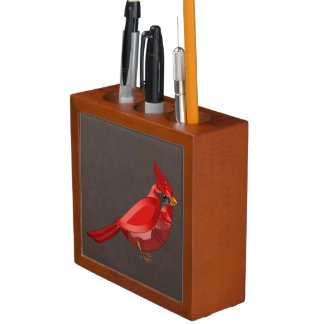 Mechanical Steampunk Cardinal in Faux Metallics Desk Organiser