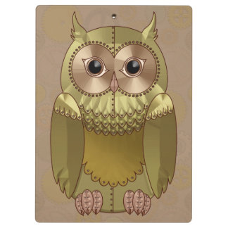 Mechanical Steampunk Owl in Faux Metallic Colors Clipboards