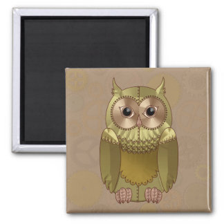 Mechanical Steampunk Owl in Faux Metallic Colors Fridge Magnets