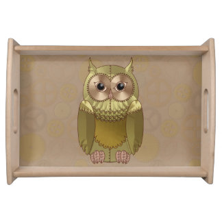 Mechanical Steampunk Owl in Faux Metallic Colors Serving Tray