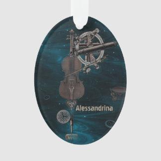 Mechanical Violin Dark Sky Custom Name Pendant Ornament
