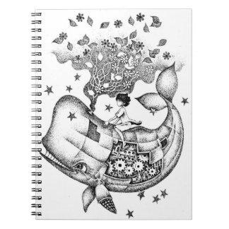 Mechanical whale spiral notebook