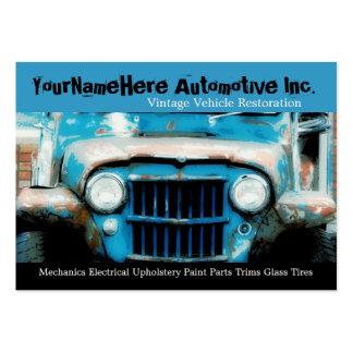 Mechanics Repair Shop with closeup wreck car Business Card Templates