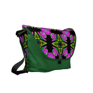 Med. Rickshaw Messenger Bag in purple/green design