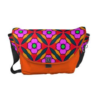 Med. Rickshaw Messenger Bag with purple flowers