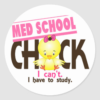 Med School Chick 1 Round Sticker