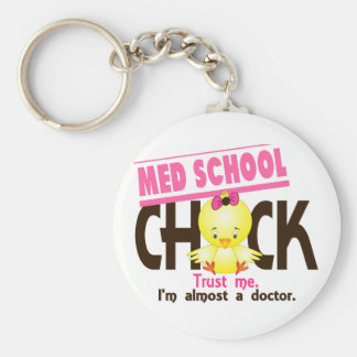 Med School Chick 3 Basic Round Button Key Ring