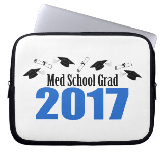 Med School Grad 2017 Caps And Diplomas (Blue) Laptop Computer Sleeves