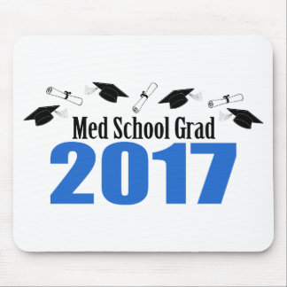 Med School Grad 2017 Caps And Diplomas (Blue) Mouse Pad