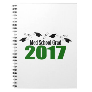 Med School Grad 2017 Caps And Diplomas (Green) Notebook