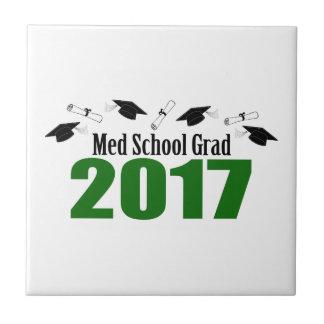 Med School Grad 2017 Caps And Diplomas (Green) Tile
