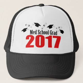 Med School Grad 2017 Caps And Diplomas (Red)