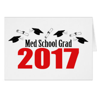 Med School Grad 2017 Caps And Diplomas (Red) Card