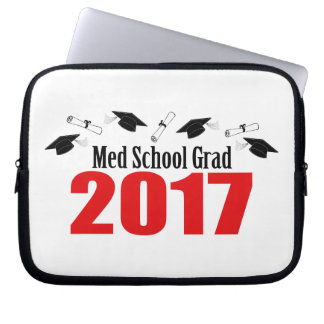 Med School Grad 2017 Caps And Diplomas (Red) Laptop Computer Sleeve