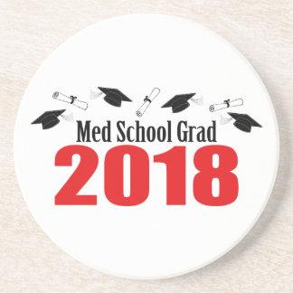 Med School Grad 2018 Caps And Diplomas (Red) Coaster